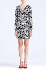 DVF Diane Von Furstenberg REINA LS Silk Jersey Tunic Dress Stone Leopard Blue