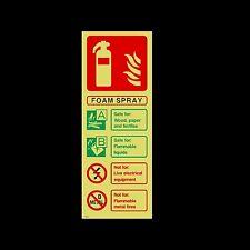 Foam Spray Fire Extinguisher ID Photoluminescent Sign, Sticker - (FE29)