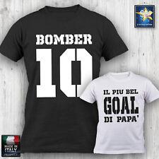 T-shirt Uomo BOMBER IL PIU BEL GOAL DI PAPA' festa del papà divertente REGALO