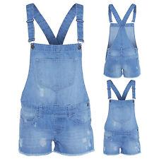 Ladies Women girls kids Denim Dungaree  Hot Pants Short Dress Play suit Jean