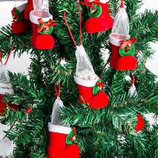 10x Christmas Santa Boot Tree Hanging Decor Xmas Candy Stocking Gift Filler Bag