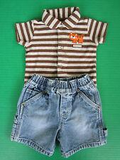 Carters Boys 6-9mo Tiger Shirt PLC Jeans Carpenter Shorts Childrens Summer Set