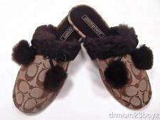 New NIB Coach Poppy Jayda Signature Fur Slippers Gift Khaki Brown