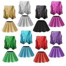 GIRLS SEQUIN Sparkle JAZZ TAP SEQUIN Dance Show Festival Costume SKIRT Waistcoat
