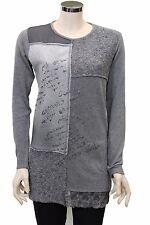 Maglia lunga da donna grigia Forza9 manica lunga girocollo casual moda lana