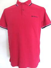 BEN SHERMAN T-Shirt Men's Tipped Polo T-Shirt Cotton Romford Pink Size: Medium