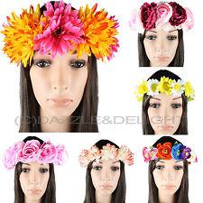 Cheveux Fleur Garland floral cheveux large couronne fleurs flower girl Festival Rose