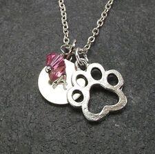 Personalized Paw Necklace with Swarovski Birthstone Crystal Custom Initial Disc