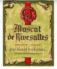 1950s French Wine Label Muscat de Rivesaltes