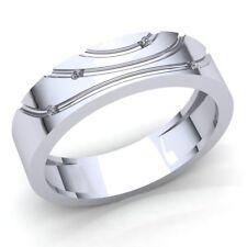 Genuine 0.25ctw Round Cut Diamond Mens Modern Anniversary Wedding Band 10K Gold