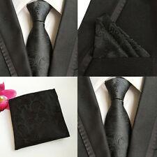Men Solid Black Paisley Flower Neckties Pocket Square Handkerchief Set Lot HZ062