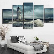 Lighthouse Ocean Waves Cloudy 5 Piece Canvas Print Wall Art