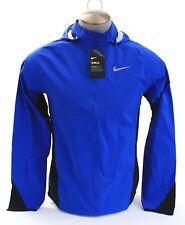 Nike Shield Blue & Black Zip Front Hooded Running Jacket Men's NWT