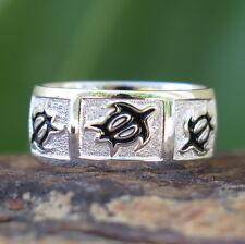 Hawaiian Sterling Silver Black Honu Sea Turtle Wedding Ring Band 8mm SR1006