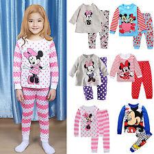 Kids Baby Girls Boy Mickey Minnie Mouse Sleepwear Outfits Pyjamas Pj's Nightwear