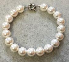 Bracciale Braccialetto Donna Perle Naturale,Bianco ,Perla ,Conchiglia, 6,8,10mm