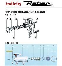 indici15 Elica tritacarne Manuale n° 5 - 8 - 10 - 12 - 22 - 32  Ricambi  Reber