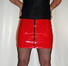 Neuf avec Étiquette Fermeture Éclair avant Brillant Sexy PVC Rouge Mini Jupe