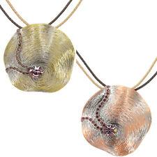 Circle Art Design Pendant Leather Necklace Jewelry Austrian Crystal Purple Retro