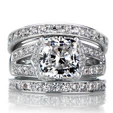 1.30 CT Double Band Diamond Wedding Band Ring Set Fine 14kt White Gold Size M N