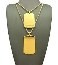"""Hip Hop Plain Dog Tag Pendant & 2mm 24"""", 30"""" Box Chain 2 Necklace Set RC1966G"""
