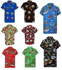 Christmas Hawaiian Shirt Mens Santa Loud Hawaii Surf Xmas Hat Party Slay S-4XL