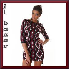 vestito donna mini abito corto rombi orlo asimetrico caldo tessuto ,tg 40,42,44