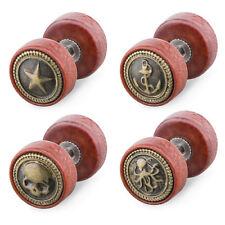 Fake Ohr Plug Piercing Hantel Ohrstecker Holz verschiedene Motive Antik Gold IP