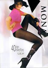 "Mona Calzas Estampadas "" Lily "" 40 den De Microfibra Color Negro"