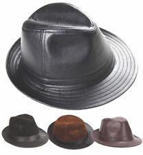 Véritable peau de mouton / cuir de vache Noir Top Cap / Fedora Hat / Cuir Trilby