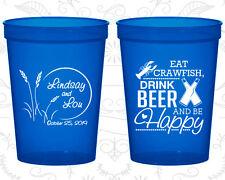 Personalized Wedding Plastic Cups Custom Cup (583) Eat Crawfish, Drink Beer
