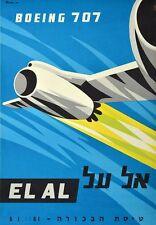 Vintage El Al Boeing 707 Airline Poster A3 Print
