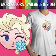 Elsa Kissy Face Kiss Frozen Disney Snow Queen Emoji Anna Mens Tee V-Neck T-Shirt