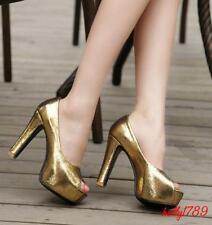 shinny Women's High Heels Peep Toe Dating Nightclub Court plus size Pumps new