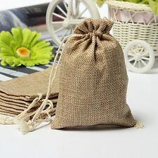 Natural Burlap Linen Jute Vintage Wedding Drawstring Gift Favor Sack Bags lot LW