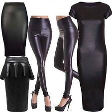 Womens Ladies Plus Size High Rise Wet Look PVC Leggings Peplum Skirt dress 16 24