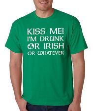 KISS ME I'M DRUNK or IRISH Saint Patrick's Day drinking clover shamrock T-Shirt