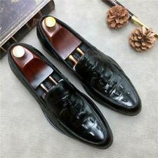 Mens Alligator Pattern Tassel Business Formal Loafers Real Leather Shoes Oxfords