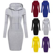 Damen Pulloverkleid Hoodie Kleid Sweatshirtkleid Kapuzenkleid Longpullover Pulli