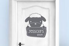 Personalised sheep kids room door Wall Stickers Vinyl Art Decals