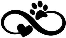 Custom Vinyl Car Decal Infinity Pet Love Paw Print Heart