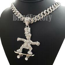 "Hip Hop Simpsons Skateboard pendant & 18"" Iced Cuban Choker Chain Bling Necklace"