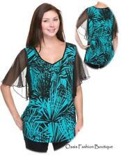 Women's Plus Blouse Top Shirt tunic career Floral Stretch Aqua fushia 1X 2X 3X