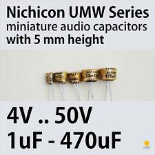 Nichicon UMW MW 4-50V 1uF-470uF Miniature 5mm height Audio Capacitors
