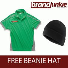 SCRUFFS GREEN ACTIVE PRO ZIP POLO Hardwearing Work Shirt + FREE BEANIE HAT