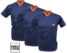 ENRICO COVERI. 3x Maglietta intima Uomo manica corta, scollo V. 602, 100% Cotone