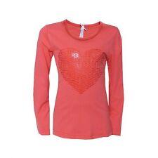 "%% LOUIS & LOUISA "" Herz "" Pailletten-Shirt coral Langarm Gr.128 - 164 NEU %%"