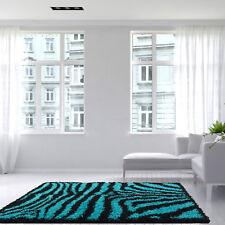 Retro Teal Blue Black Zebra Print Shaggy Rug Fluffy Thick Soft Animal Print Rugs