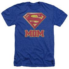 Superman Super Mom Mens Heather Shirt Royal Blue