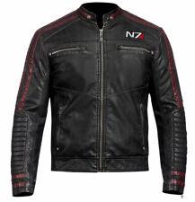 LEATHER JACKET N7 STREET FIGHTER COMMANDER GAMING BIKER MOTO BLACK RETRO VINTAGE